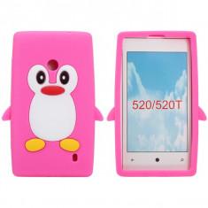 Husa silicon pinguin Nokia Lumia 520 + folie protectie ecran - Husa Telefon Nokia, Roz