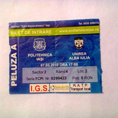 Politehnica Iasi - Unirea Alba Iulia (7 martie 2010) - Program meci