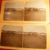 *2 Fotografii stereoscopice -Scoala de Cavalerie Sibiu , interbelica