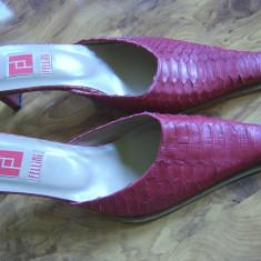 Papuci superbi italieni din piele naturala, marimea 37 MEGAREDUCERE FINALA - Sabot dama, Rosu