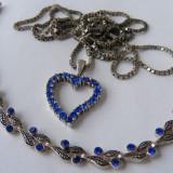 Set bijuterii colier bratara din argint cu pietre albastre