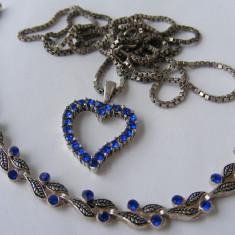 Set bijuterii colier bratara din argint cu pietre albastre - Set bijuterii argint