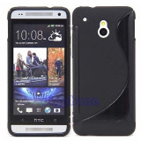 Husa silicon HTC One Mini + folie ecran, Universala, Negru