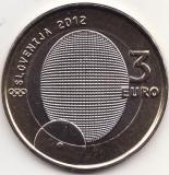 Moneda - Republica Slovenia - 3 Euro 2012 - 100 ani de la prima medalie olimpica slovena