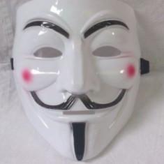 Masca V for Vendetta, Guy Fawkes, Anonymous, noi, albe, plastic PROMOTIE, Marime universala, Alb