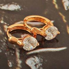Cercei dublu placat aur 18K cristale zirconiu, cod produs G282 - Cercei placati cu aur