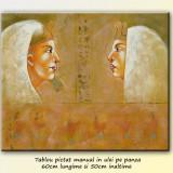 Profil de regina egipteana - tablou ulei 60x50cm, LIVRARE GRATUITA 24-48h - Tablou autor neidentificat