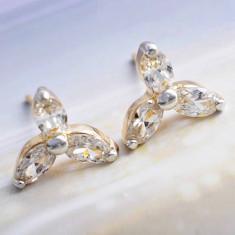 Cercei dublu placati aur 18K cristale zirconiu, cod G255 - Cercei placati cu aur
