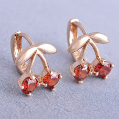 Cercei dublu placati aur 18K cristale zirconiu, cod G656 - Cercei placati cu aur