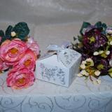 Marturii nunta Cutiuta cadou alb perlat cu sclipici CEL MAI MIC PRET cutie cutii