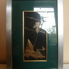 Tablou lucrat manual, marcat Artigianato Indonesiano, Giava-Bali, provenienta Italia, dimensiuni: 32 cm lungime, 21, 5 cm latime, de colectie !