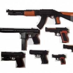 MEGA SET 7 AIRSOFT COMPUS DIN PUSCA AK47, TRANCAN, 5 PISTOALE+2000 BILE BONUS. - Arma Airsoft