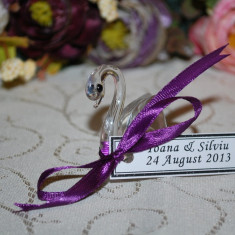 Marturii nunta/botez Lebada cristal, CEL MAI MIC PRET DE PE PIATA, marturie, lebede, sticla