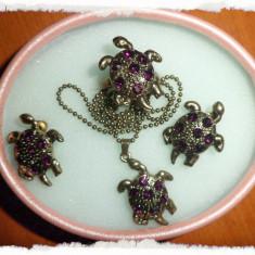 Set inel, medalion, cercei - broscuta testoasa