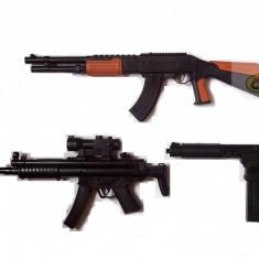 SET AIRSOFT COMPUS DIN PUSCA REPLIK AK47, MITRALIERA MP4 SI TRANCAN UZZY+3000 BILE BONUS. - Arma Airsoft
