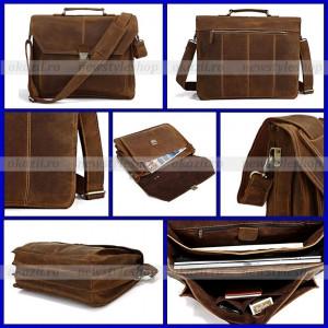 Geanta laptop 15 - VINTAGE HANDMADE din piele 100% naturala