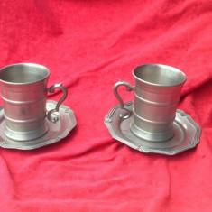 2 buc. - Cana din zinc de mici dimensiuni  cu farfurioare - Marcate !!!