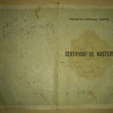 Certificat de nastere emis 1956 RPR - Republica Populara Romana - Diploma/Certificat