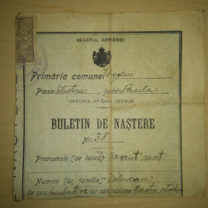 Buletin de nastere Regatul Romaniei / alt act in scriere olografa pe spate datat 1956 - Diploma/Certificat