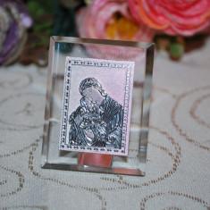 Marturii nunta/botez Iconita cristal, dreptunghiulara, model deosebit, CEL MAI MIC PRET DE PE PIATA Icoana marturie sticla
