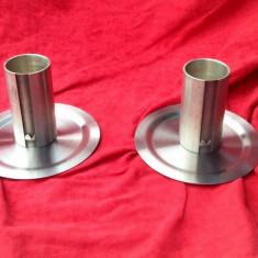 2 buc. - Mini pahare zinc cu farfurioare - Marcate !!! - Metal/Fonta, Altul