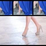 Pantofi dama bej deschis;toc de 13 cm si platforma de 3 cm