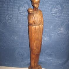 Statuie veche Africa- Femeie cu copil din lemn - Arta din Africa