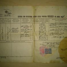 Extras din registrul starii civile emis 1944 ( rar!!!, licitatie, se vinde la pret final ) - Pasaport/Document, Romania 1900 - 1950