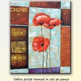 Tablou modern - Aranjament floral cu maci 2 (60x50cm), LIVRARE GRATUITA 24-48h - Tablou autor neidentificat