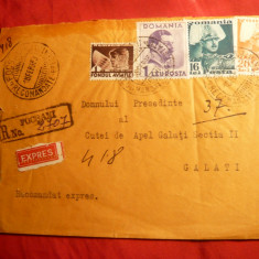 Plic circ.cu 1 Leu, 16, 20 lei Uzuale Carol II, recomandat, 1939, Focsani -Galati