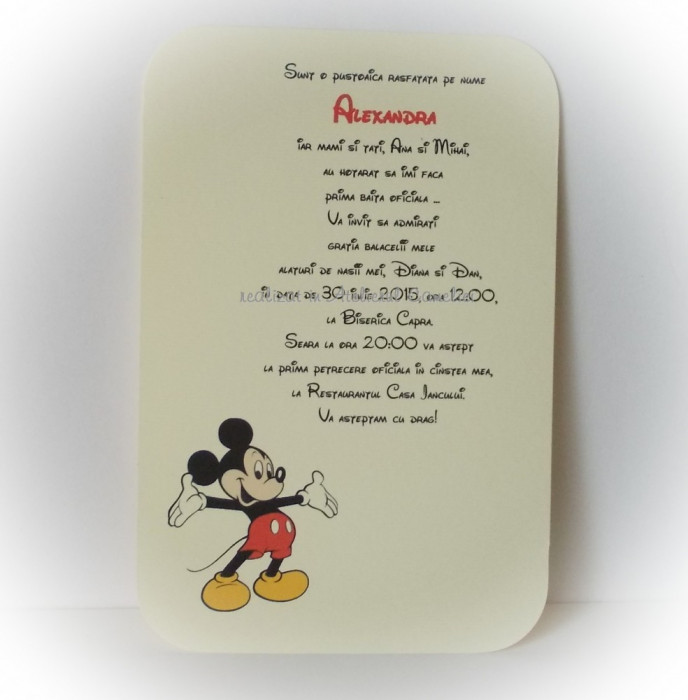Invitatie botez - Mickey Mouse