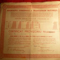 Certificat provizoriu de Actiuni- Soc. Comunala a Tramvaielor Bucuresti 1945