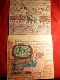 2 Caricaturi color ( probabil N.Cobar)- despre fotbal , 19x20 cm