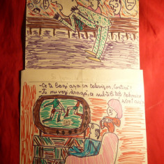 2 Caricaturi color ( probabil N.Cobar)- despre fotbal, 19x20 cm - Pictor strain