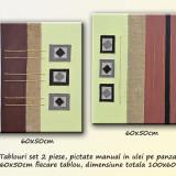 Tablou modern abstract (42) - 2 piese 60x50cm - Pictor roman, Ulei