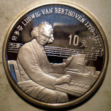 5.040 CHINA BEETHOVEN 10 YUAN 1990 PROOF .925 ARGINT 27g 30 000ex., Asia