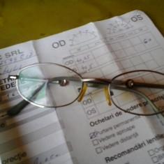 Ochelari cuDIOPTRII 0.25 la drept si 0, 5 la stang cu plus rama metalica cromata lentile sticla cu protectie UV, SI CALCULATOR, PT PURTARE PERMANENTA - Lentile ochelari