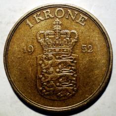 F.543 DANEMARCA FREDERIK IX 1 KRONE 1952, Europa, Bronz-Aluminiu