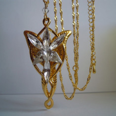 Arwen Evenstar Pandantiv+Lant, Lord Of The Rings Aurit, 7Cristale - Pandantiv Swarovski