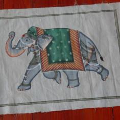 Stampa de dimensiuni mari pictura pe panza de matase - motiv oriental - elefant - Broderie