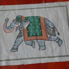 Stampa de dimensiuni mari pictura pe panza de matase - motiv oriental - elefant