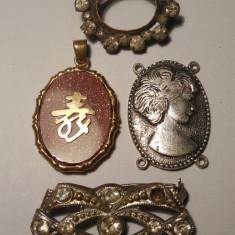 """LOT - Brosa din aluminiu cu pietricele, brosa defecta din alama cu """"diamante"""", medalion si emblema!"""