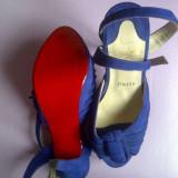 Vanda sandala Christian Louboutin din piele intoarsa - Sandale dama Christian Louboutin, Culoare: Albastru, Marime: 36, Albastru