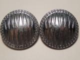 Pereche de CERCEI mari si rotunzi, vintage, facuti din metal, sistem de prindere cu clips de alama!
