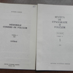 ALEXANDRU DOBRE - NOTE ASUPRA PROVERBULUI ROMANESC I-II extrase memoriile comisiei de folclor 1987, revista de etnografie si folclor 1/1995 - Carte folclor