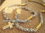 SET Lant+medalion +bratara  two-tone  model VERSACE Meandros=90 ron