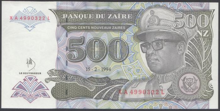 Zair 500 Zaires 1994 UNC