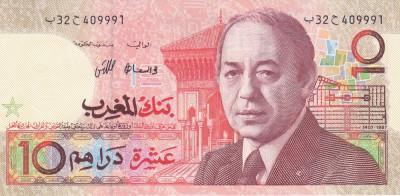 Bancnota Maroc 10 Dirhams 1987 - P60b UNC foto
