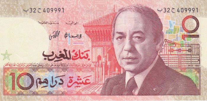 Bancnota Maroc 10 Dirhams 1987 - P60b UNC foto mare
