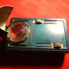 Lanterna veche Militara sau CFR, cu filtru de lumina rosu si albastru, interbelica